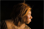 a Neanderthal woman, side view