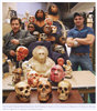G.J. Sawyer and Viktor Deak with some of their reconstructions of ancient humans.