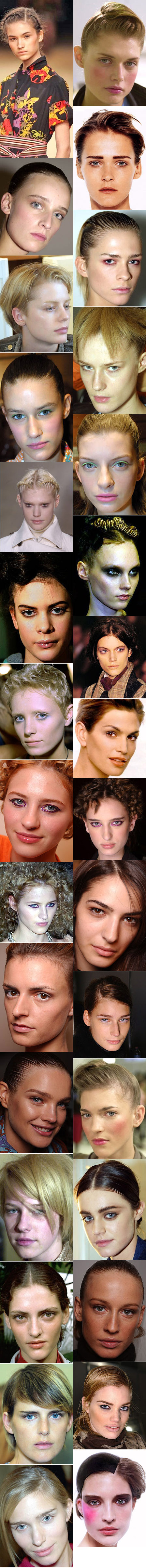 Fashion models with the faces of adolescent boys; Carmen Cass, Cindy Crawford, Emina Cunmulaj, Jacquetta Wheeler, Natalia Vodianova, Eugenia Volodina, etc.