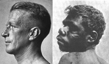 A European and an Australian Aborigine.
