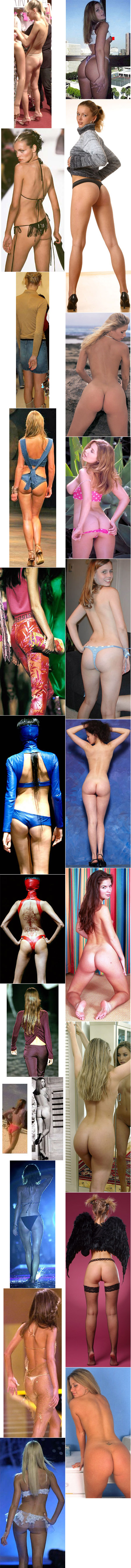The backside of high-fashion models contrasted with that of feminine glamour models.