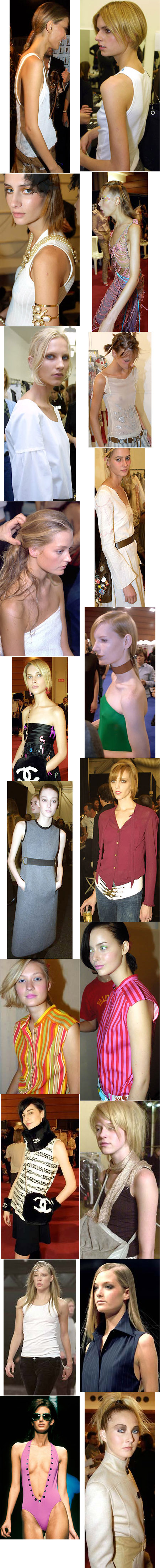 Some examples of the small breasts often seen in high-fashion models.